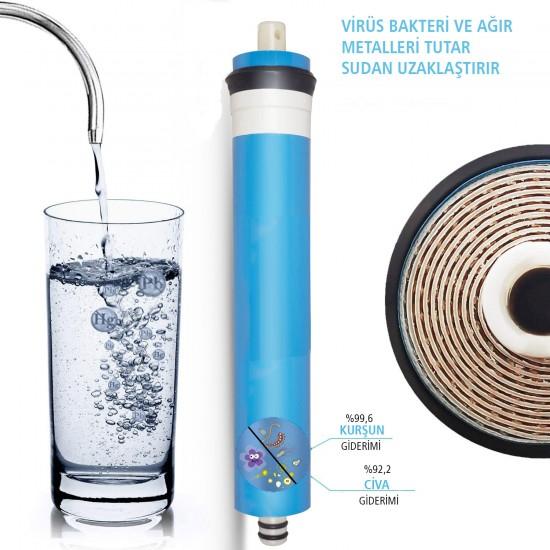 IONO  8 Aşamalı VONTRON Membranlı Detox-Mineral ve Alkali Inline 12 Inch Kapalı Kasa Su Arıtma Filtre Seti