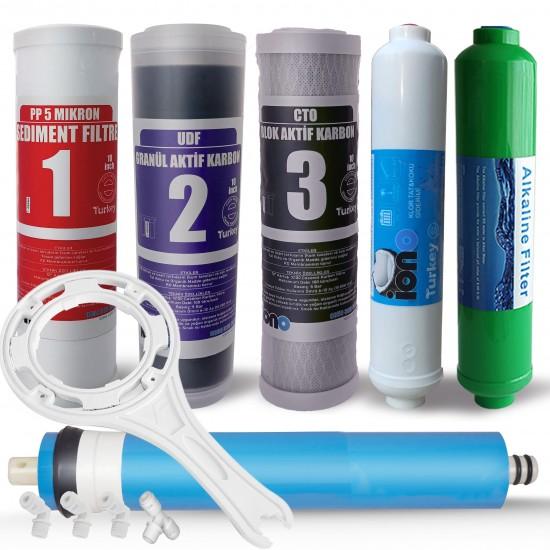 6 lı Su Arıtma Cihazı Alkali Filtre Seti 10 inch Açık Kasa