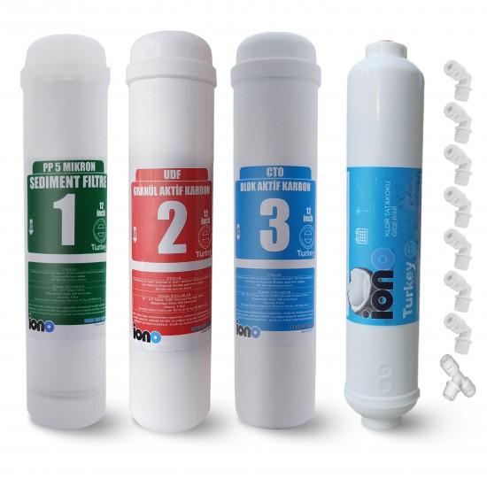 IONO  4 Aşamalı  Inline 12 Inch Kapalı Kasa Su Arıtma Filtre Seti