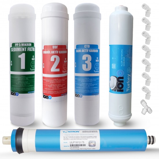 IONO  5 Aşamalı VONTRON Membranlı Inline 12 Inch Kapalı Kasa Su Arıtma Filtre Seti