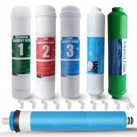 IONO  6 Aşamalı Standart Membranlı Alkali Inline 12 Inch Kapalı Kasa Su Arıtma Filtre Seti