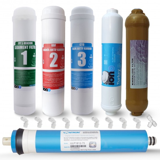 IONO  6 Aşamalı VONTRON Membranlı Mineral Filtreli Inline 12 Inch Kapalı Kasa Su Arıtma Filtre Seti
