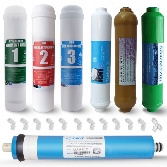 IONO  7 Aşamalı VONTRON Membranlı Mineral ve Alkali Filtreli Inline 12 Inch Kapalı Kasa Su Arıtma Filtre Seti