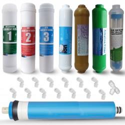 IONO  8 Aşamalı Standart Membranlı Detox-Mineral ve Alkali Inline 12 Inch Kapalı Kasa Su Arıtma Filtre Seti